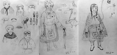 Grandma Adventurer Concept Sketches